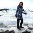 Conquering an ice floe in Iceland